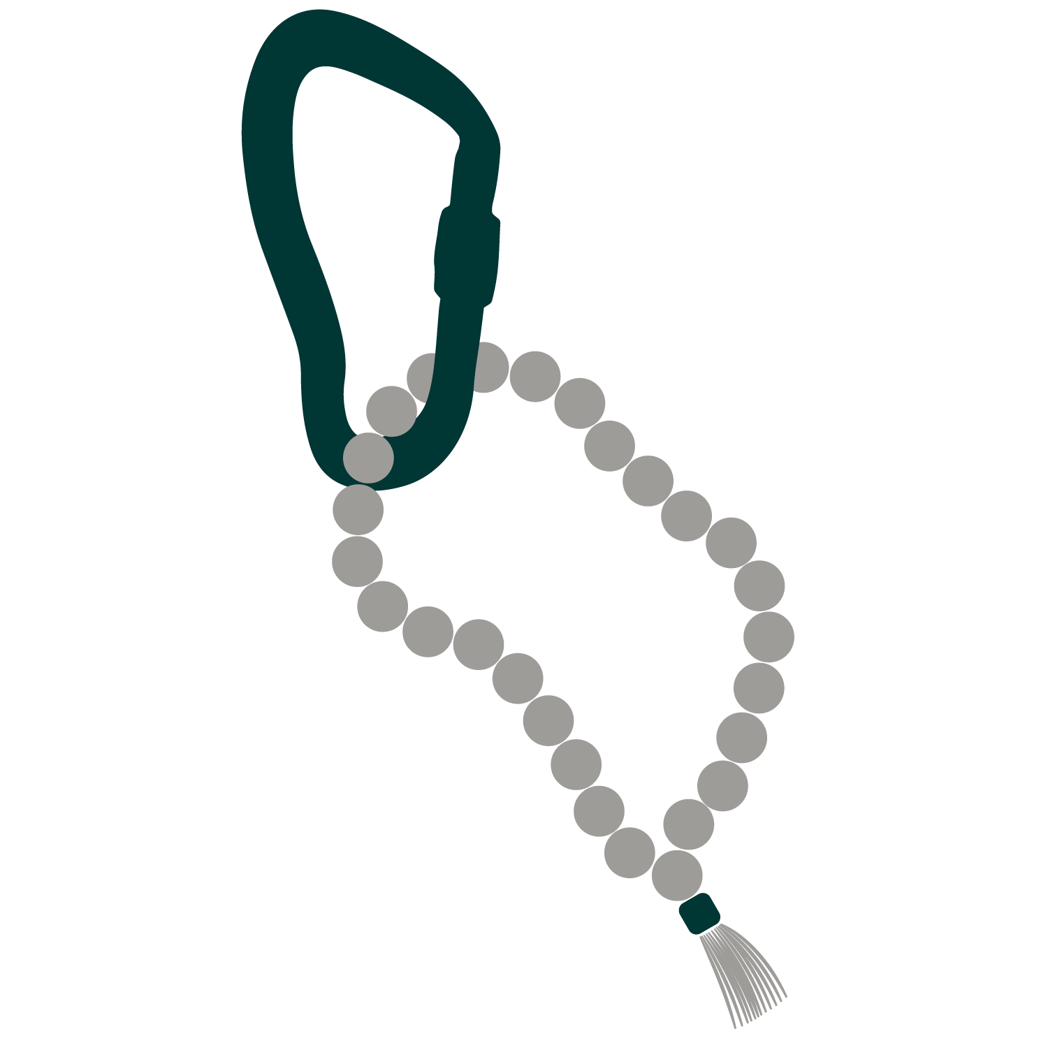 Carabiner-+-Mala-Beads-Green-and-Grey