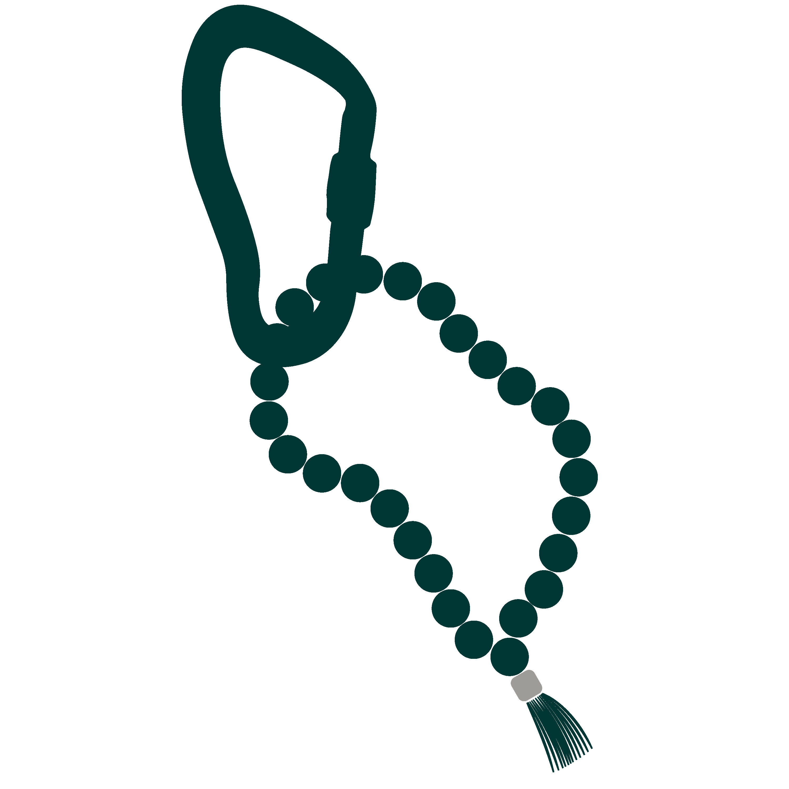 Carabiner-+-Mala-Beads-Green-and-Green