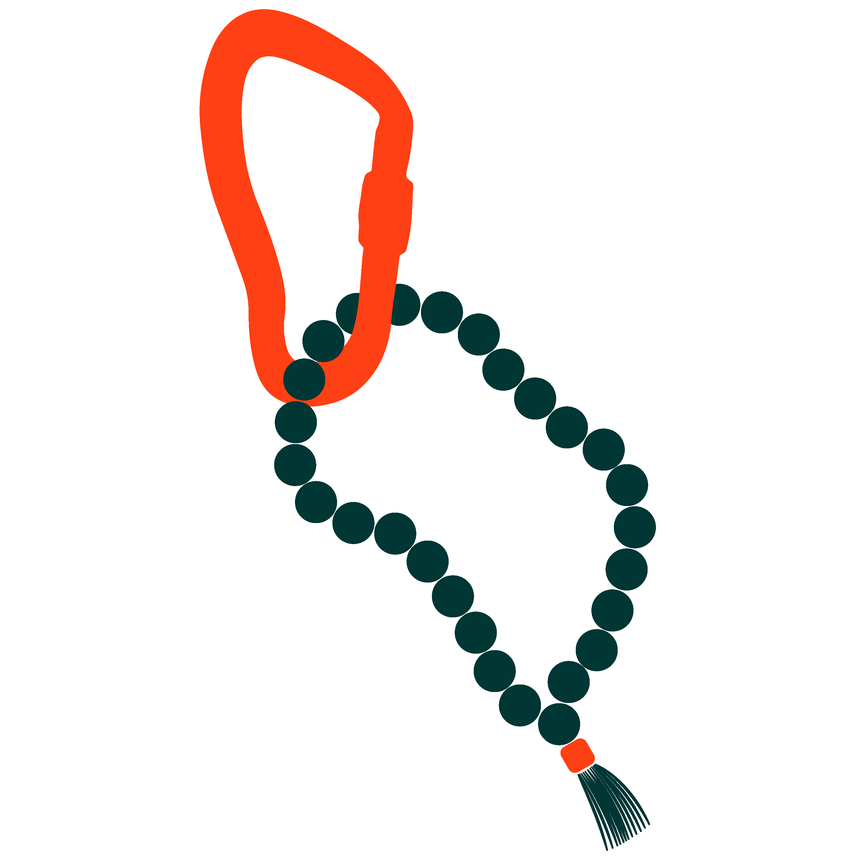 Carabiner-+-Mala-Beads-Red-and-Green